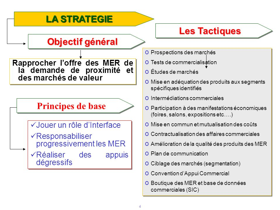 LA STRATEGIE Les Tactiques Objectif général Principes de base