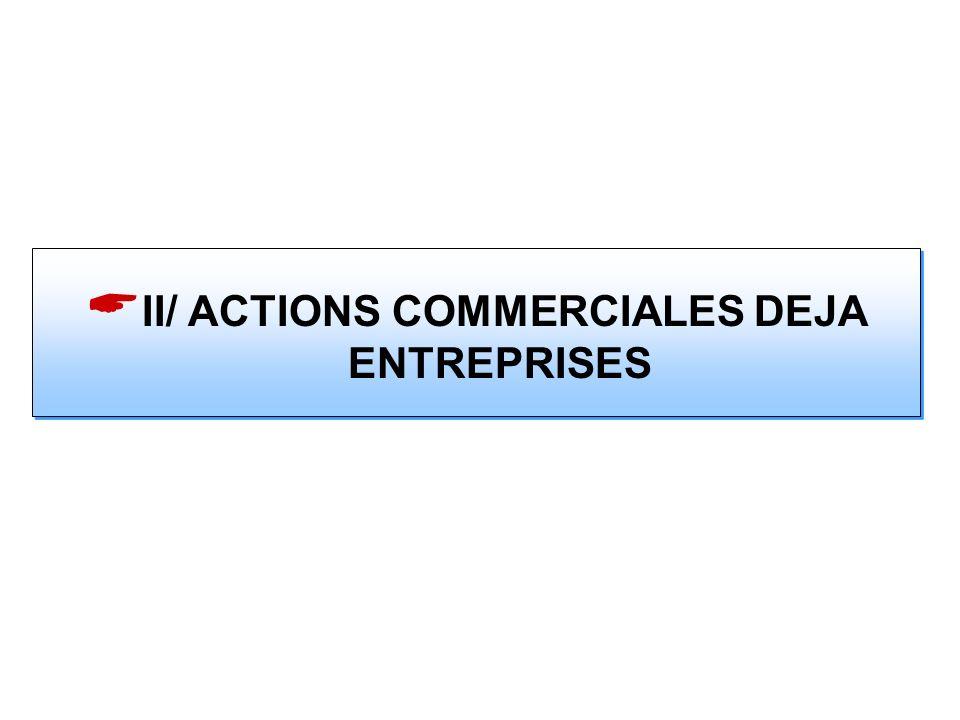 II/ ACTIONS COMMERCIALES DEJA ENTREPRISES