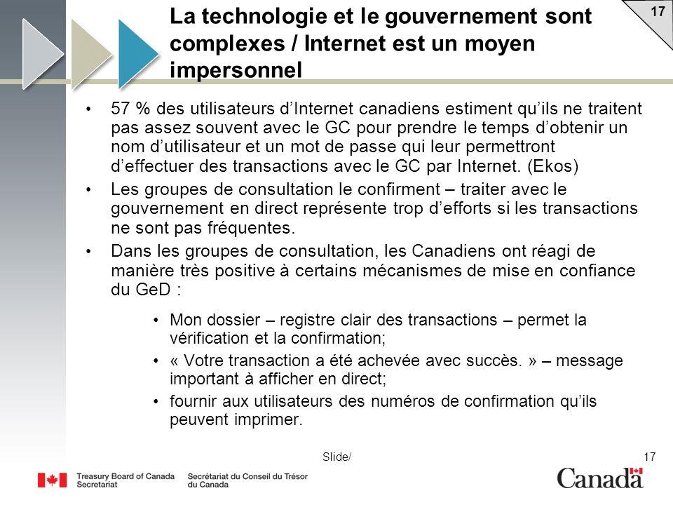 La technologie et le gouvernement sont complexes / Internet est un moyen impersonnel