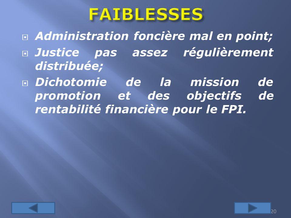 FAIBLESSES Administration foncière mal en point;