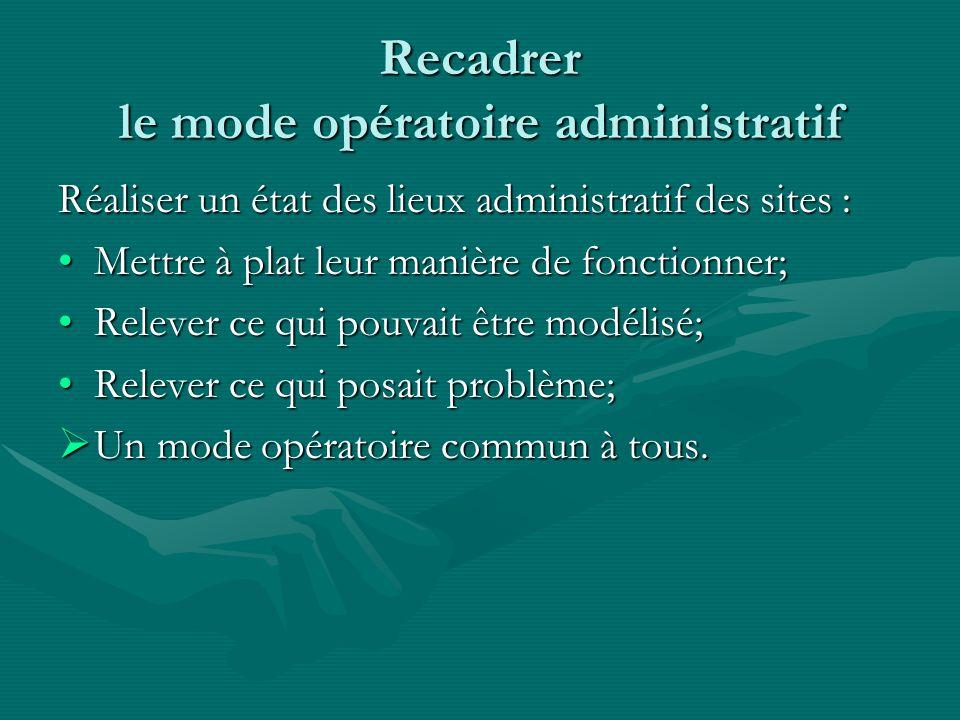 Recadrer le mode opératoire administratif