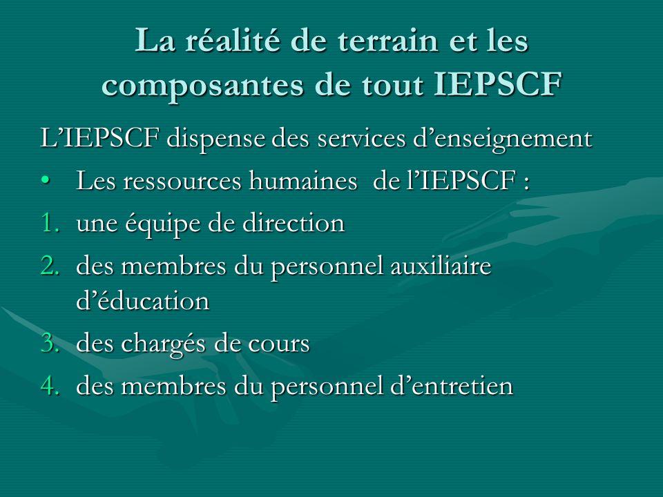 La réalité de terrain et les composantes de tout IEPSCF
