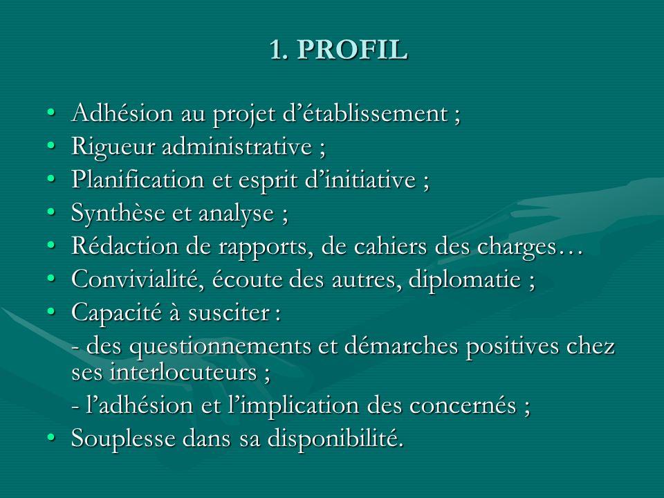 1. PROFIL Adhésion au projet d'établissement ;