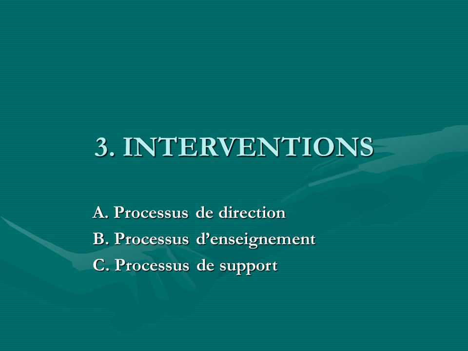 3. INTERVENTIONS A. Processus de direction B. Processus d'enseignement