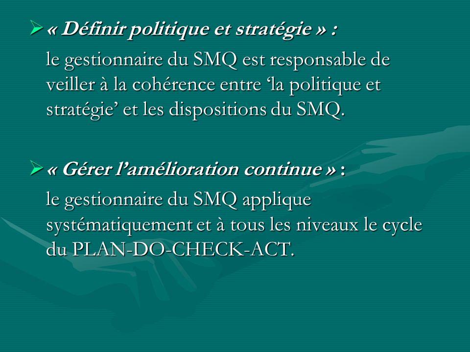 « Définir politique et stratégie » :