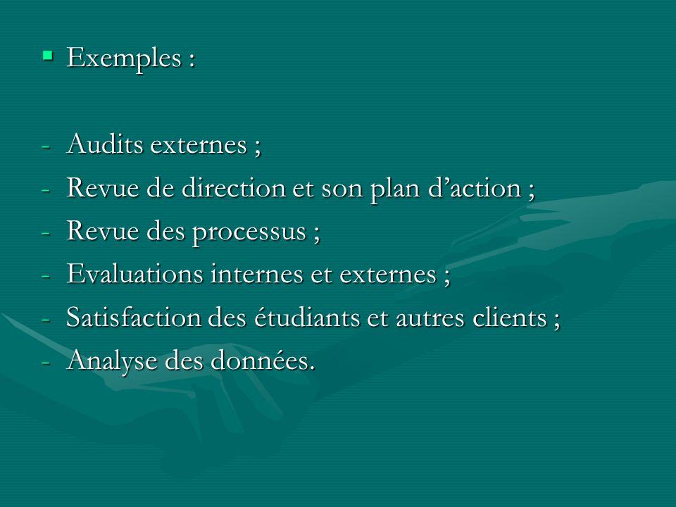 Exemples : Audits externes ; Revue de direction et son plan d'action ; Revue des processus ; Evaluations internes et externes ;