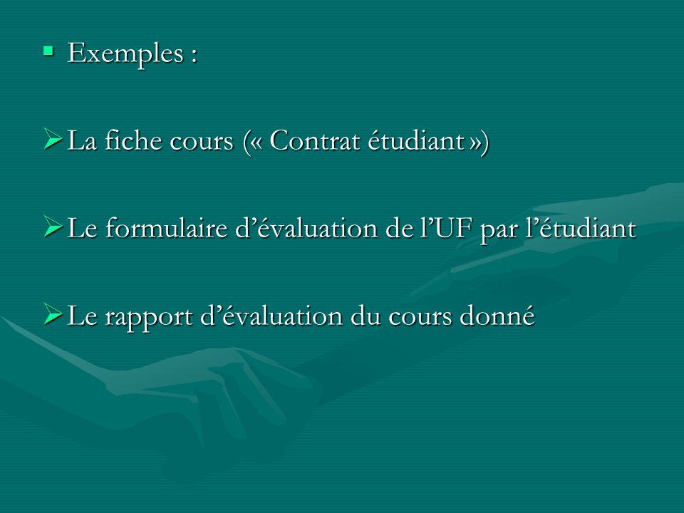 Exemples : La fiche cours (« Contrat étudiant ») Le formulaire d'évaluation de l'UF par l'étudiant.