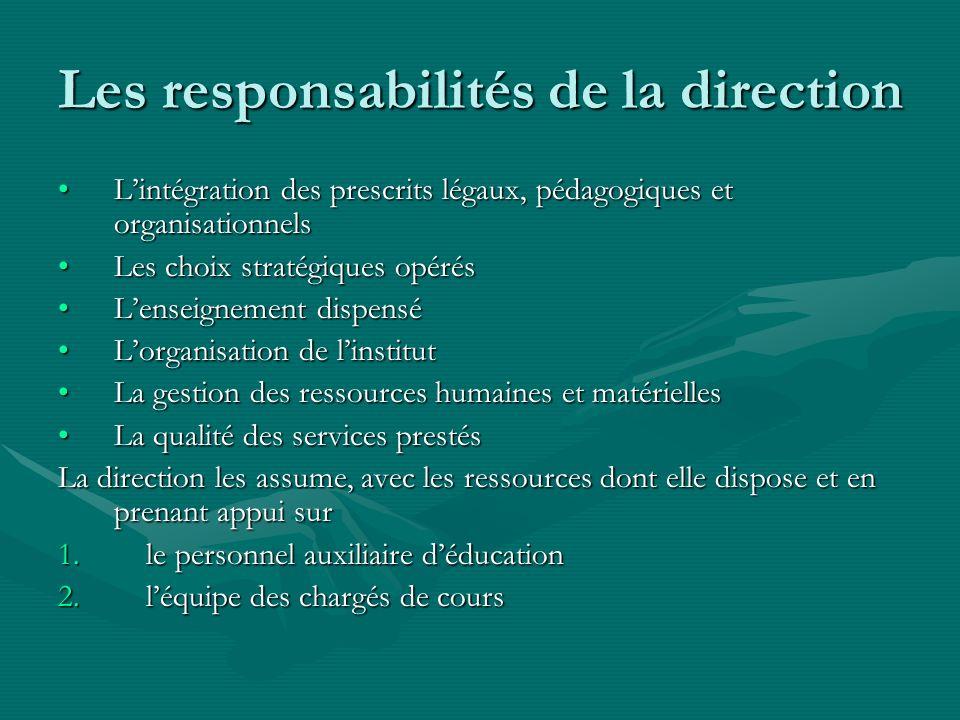 Les responsabilités de la direction