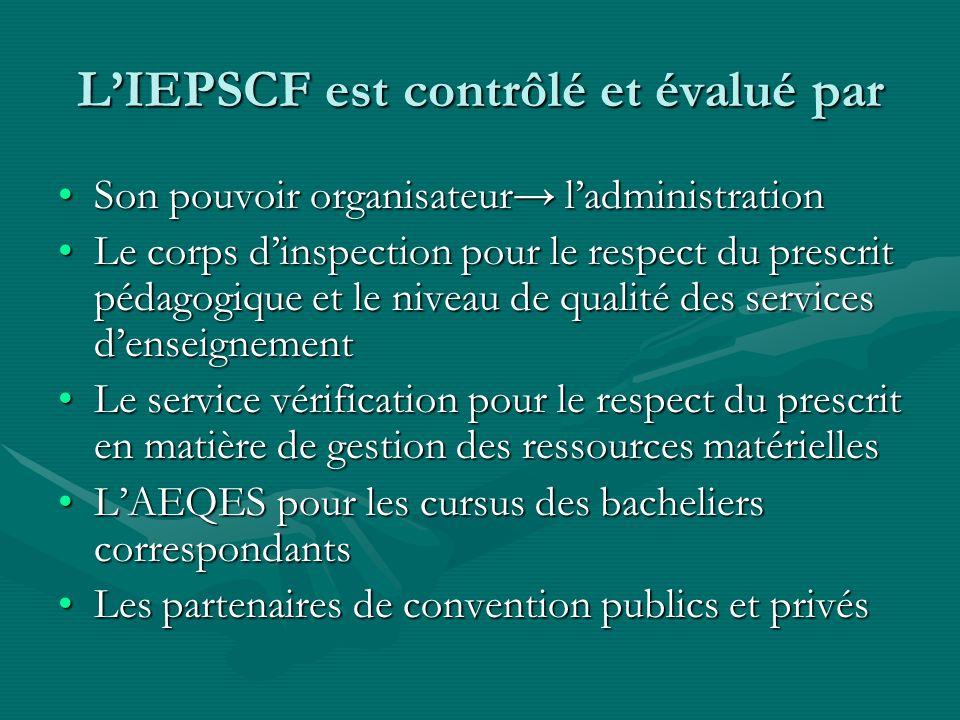 L'IEPSCF est contrôlé et évalué par