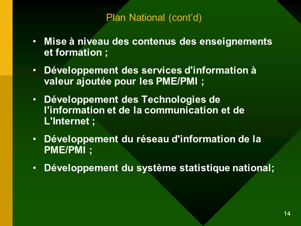 Plan National (cont'd)