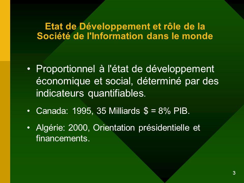 Etat de Développement et rôle de la Société de l Information dans le monde