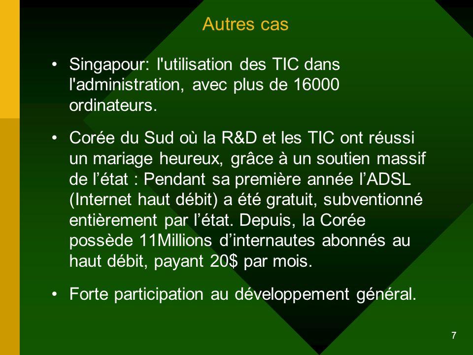 Autres cas Singapour: l utilisation des TIC dans l administration, avec plus de 16000 ordinateurs.