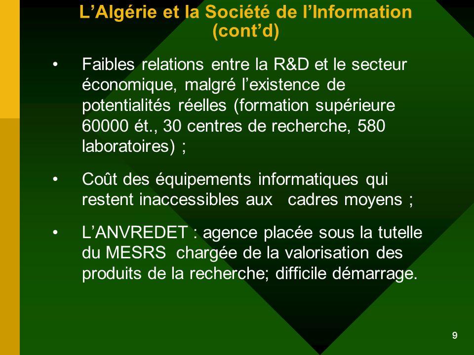 L'Algérie et la Société de l'Information (cont'd)
