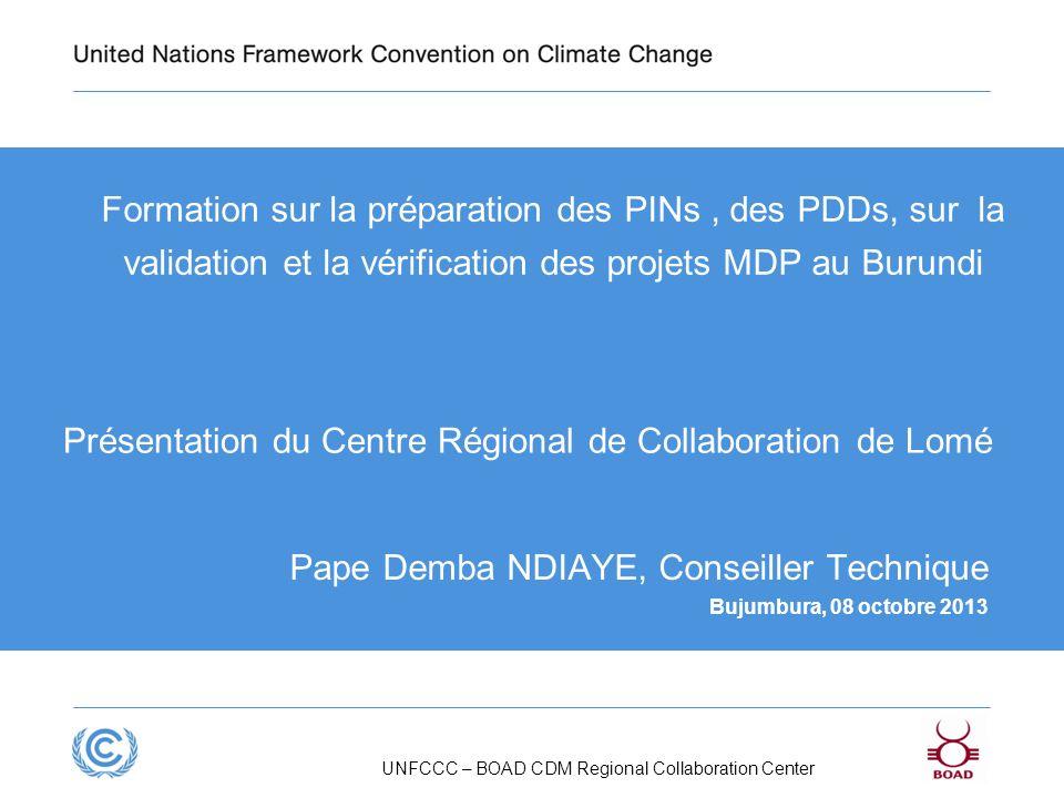 Présentation du Centre Régional de Collaboration de Lomé