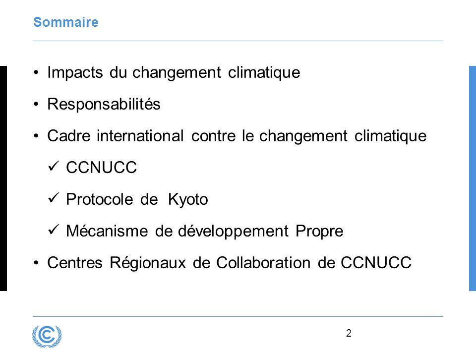 Impacts du changement climatique Responsabilités