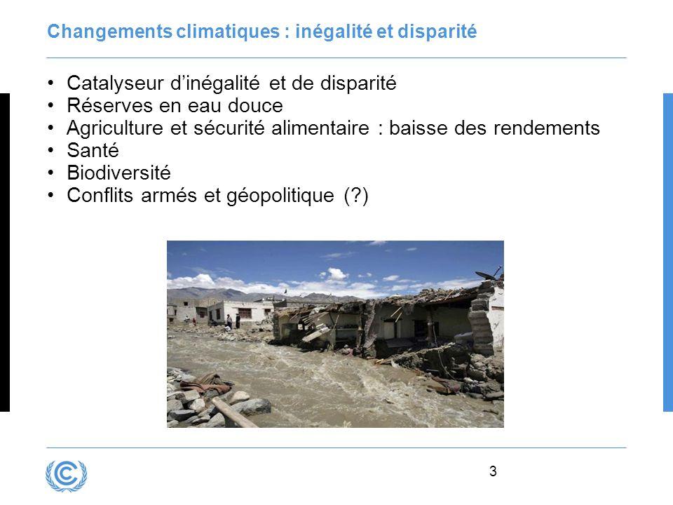 Changements climatiques : inégalité et disparité