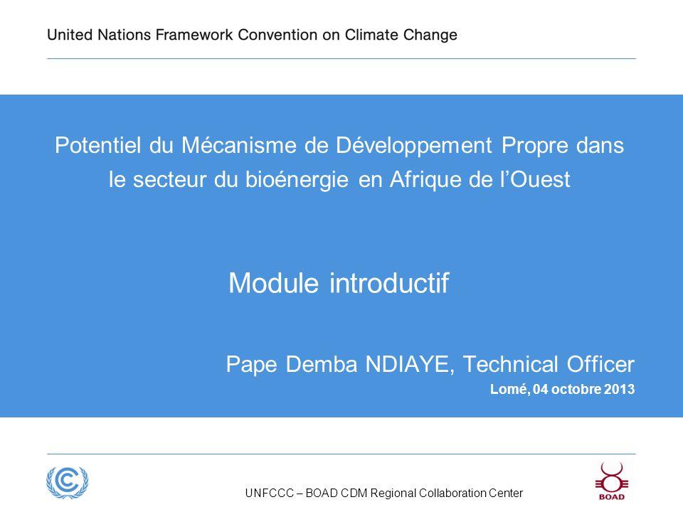 Presentation title Potentiel du Mécanisme de Développement Propre dans le secteur du bioénergie en Afrique de l'Ouest.