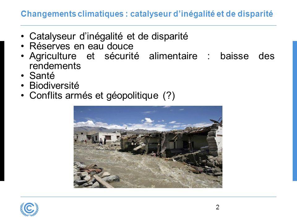 Changements climatiques : catalyseur d'inégalité et de disparité