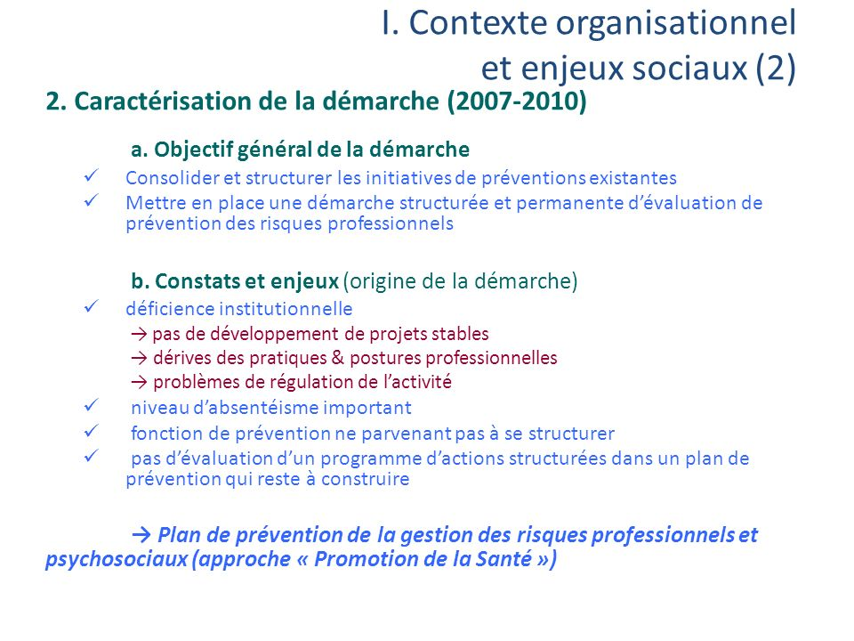 I. Contexte organisationnel et enjeux sociaux (2)