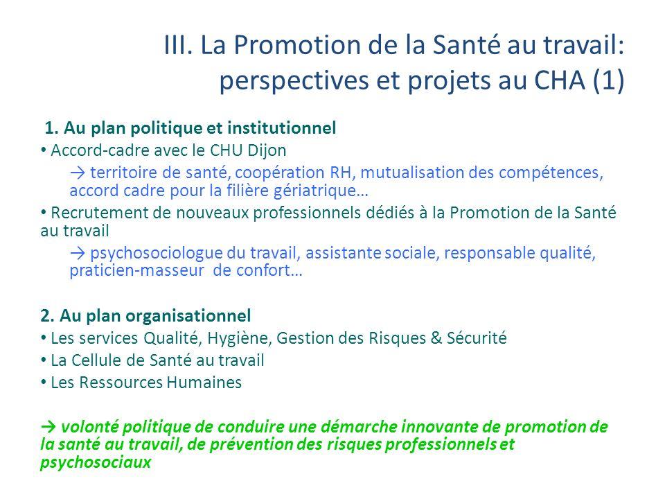 III. La Promotion de la Santé au travail: perspectives et projets au CHA (1)
