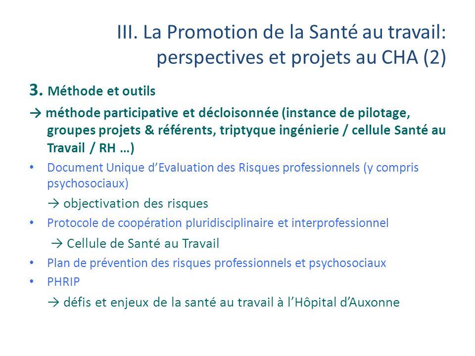 III. La Promotion de la Santé au travail: perspectives et projets au CHA (2)