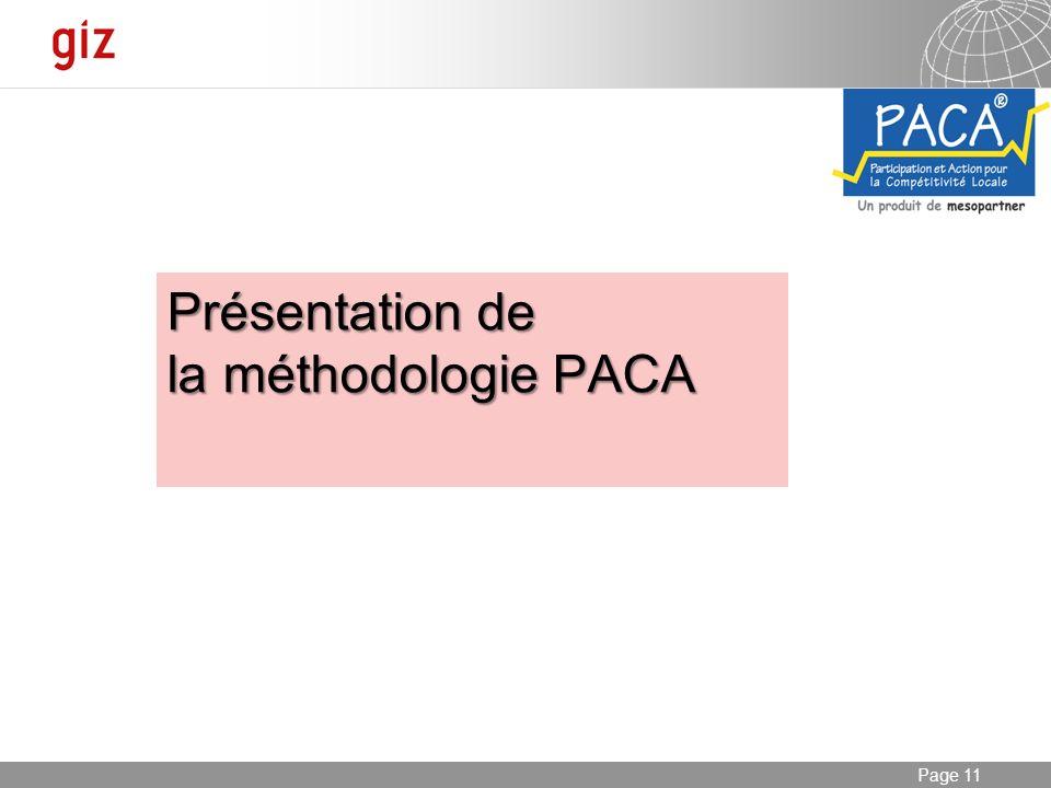 Présentation de la méthodologie PACA
