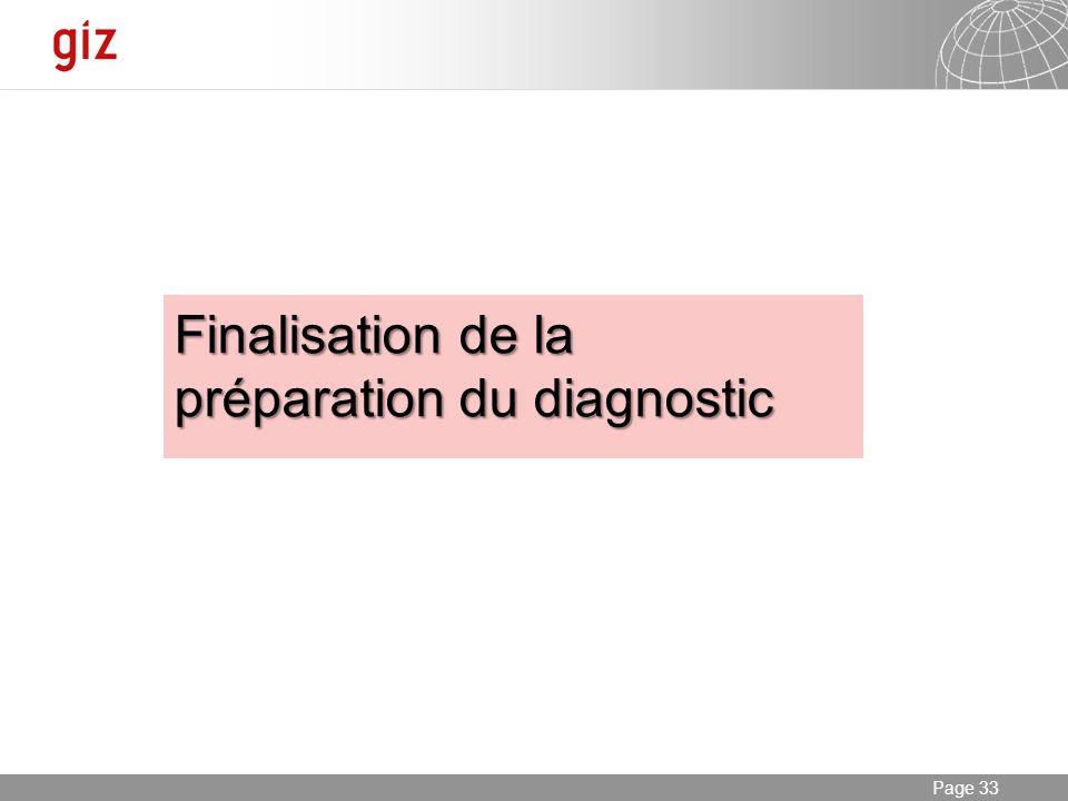 Finalisation de la préparation du diagnostic