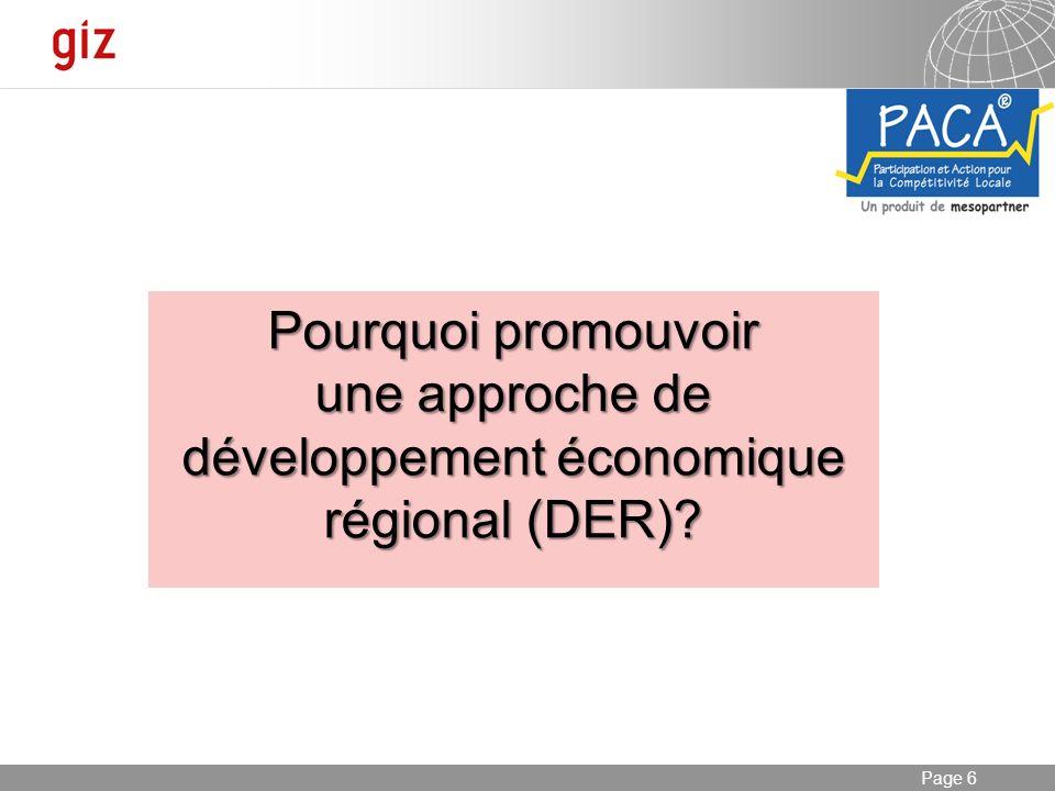 Pourquoi promouvoir une approche de développement économique régional (DER)