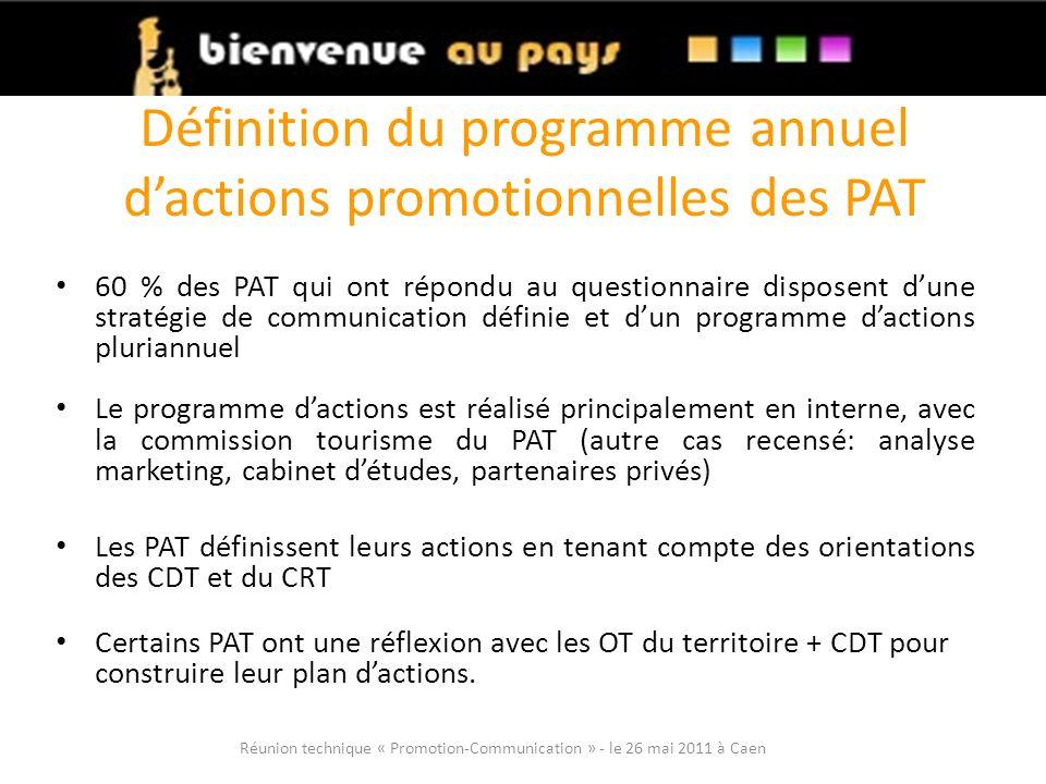 Définition du programme annuel d'actions promotionnelles des PAT