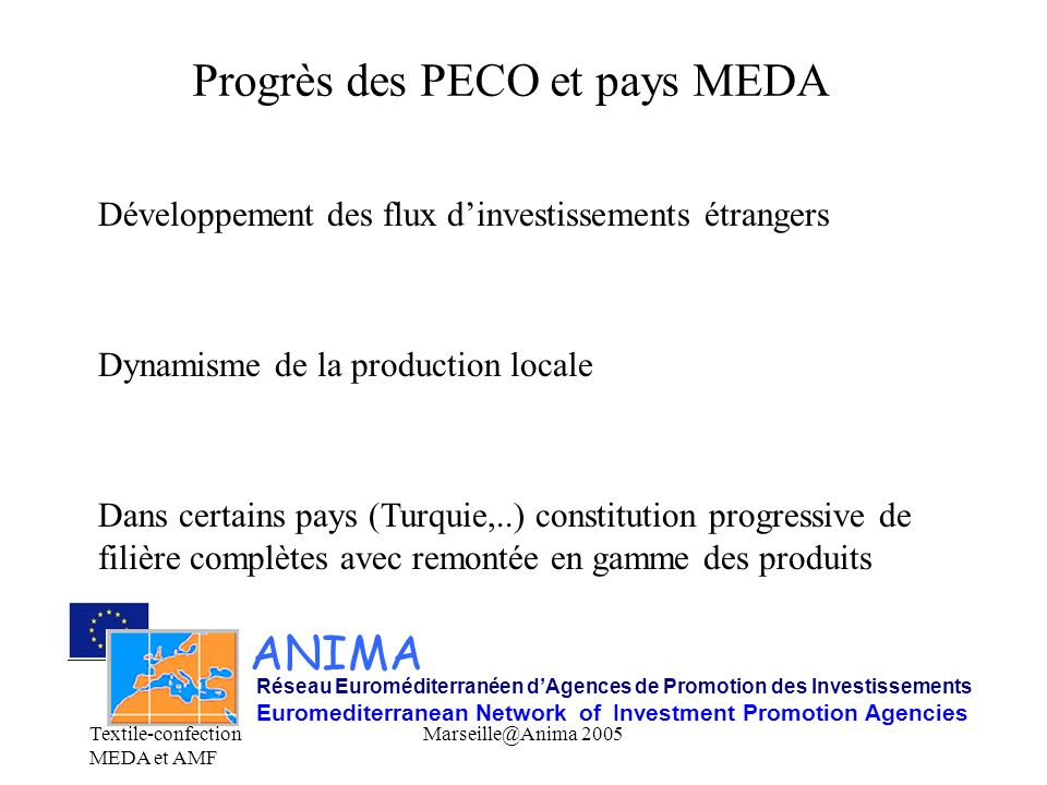 Progrès des PECO et pays MEDA