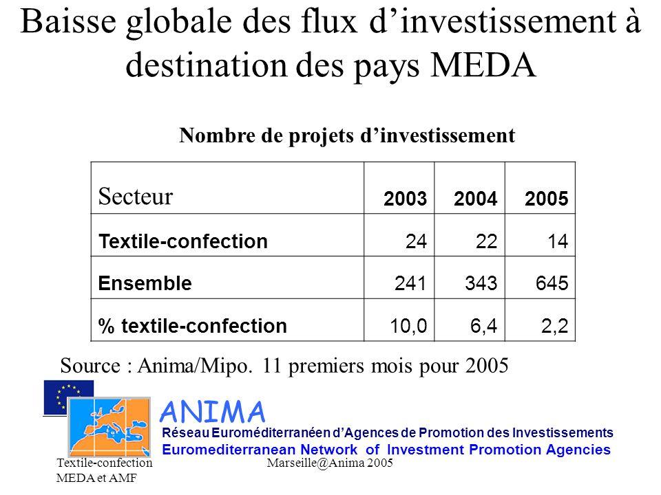 Baisse globale des flux d'investissement à destination des pays MEDA