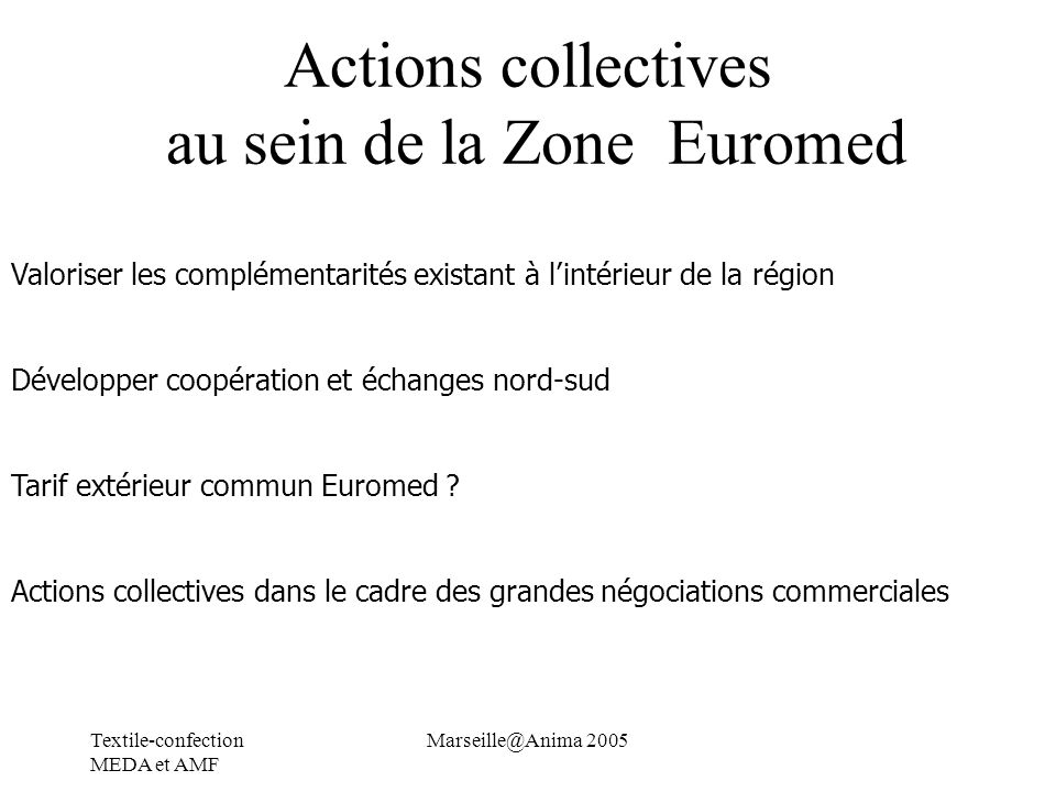 Actions collectives au sein de la Zone Euromed