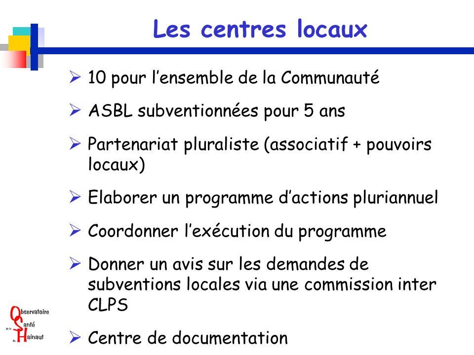 Les centres locaux  10 pour l'ensemble de la Communauté