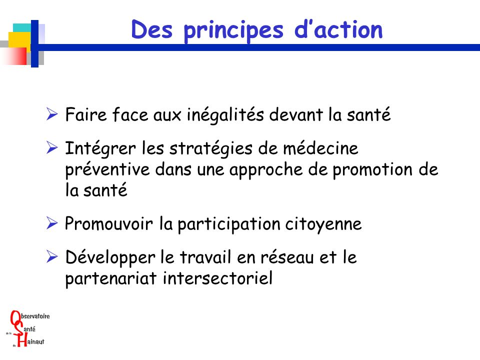 Des principes d'action
