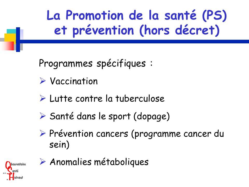La Promotion de la santé (PS) et prévention (hors décret)