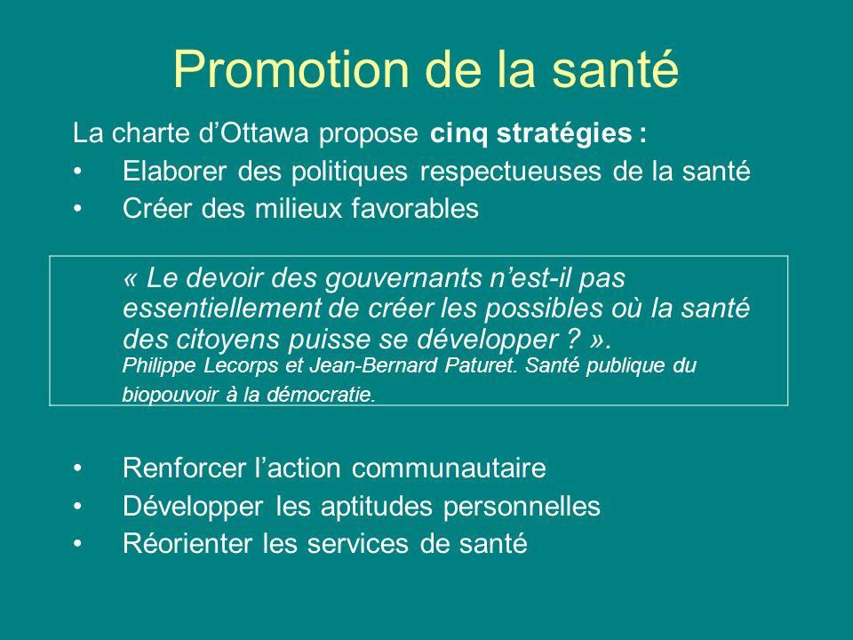 Promotion de la santé La charte d'Ottawa propose cinq stratégies :
