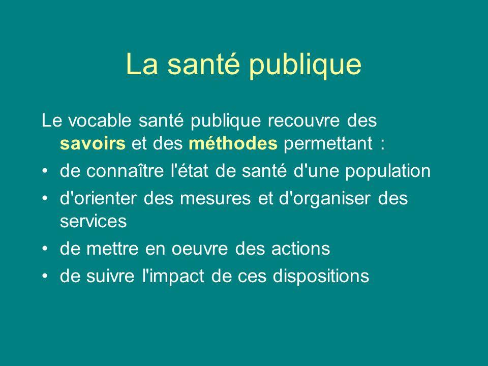 La santé publique Le vocable santé publique recouvre des savoirs et des méthodes permettant : de connaître l état de santé d une population.