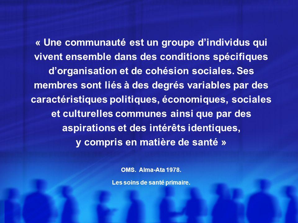 « Une communauté est un groupe d'individus qui vivent ensemble dans des conditions spécifiques d'organisation et de cohésion sociales.
