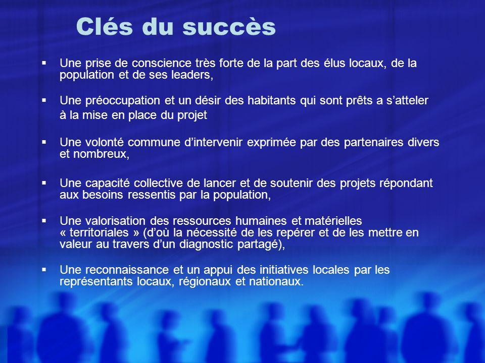 Clés du succès Une prise de conscience très forte de la part des élus locaux, de la population et de ses leaders,