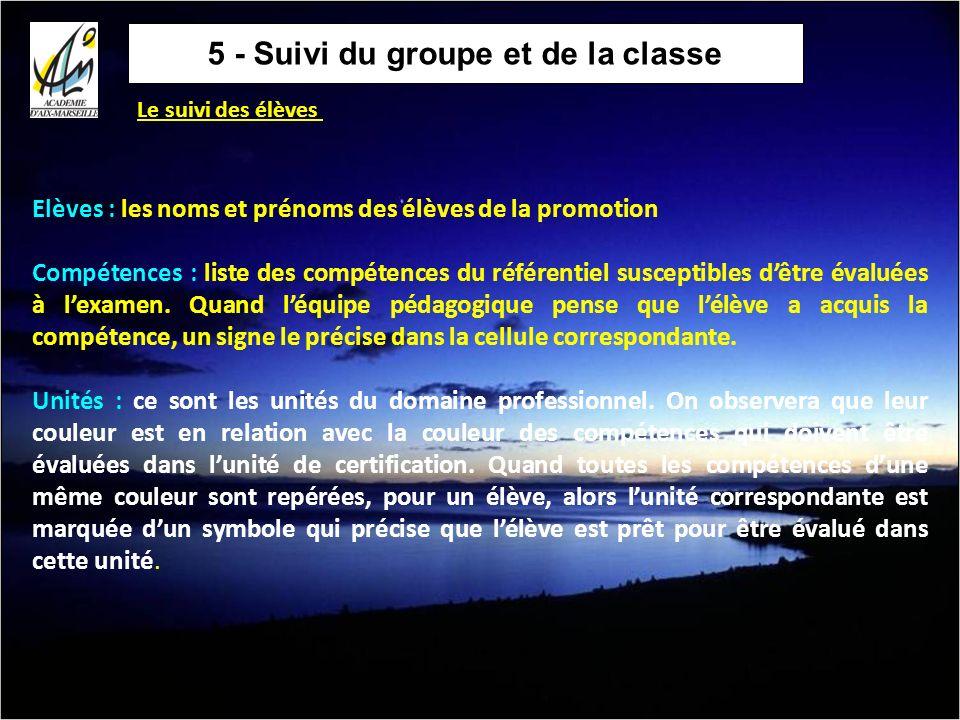 5 - Suivi du groupe et de la classe