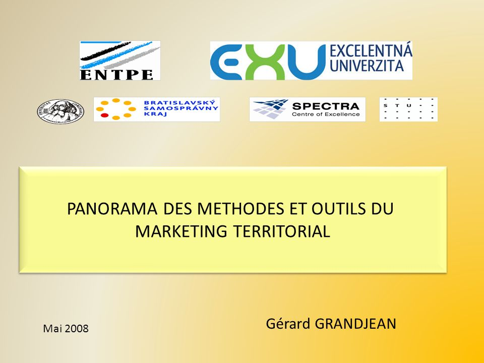 PANORAMA DES METHODES ET OUTILS DU MARKETING TERRITORIAL