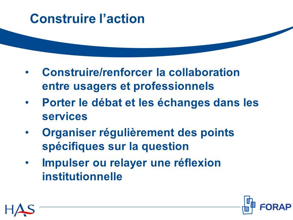 Construire l'action Construire/renforcer la collaboration entre usagers et professionnels. Porter le débat et les échanges dans les services.