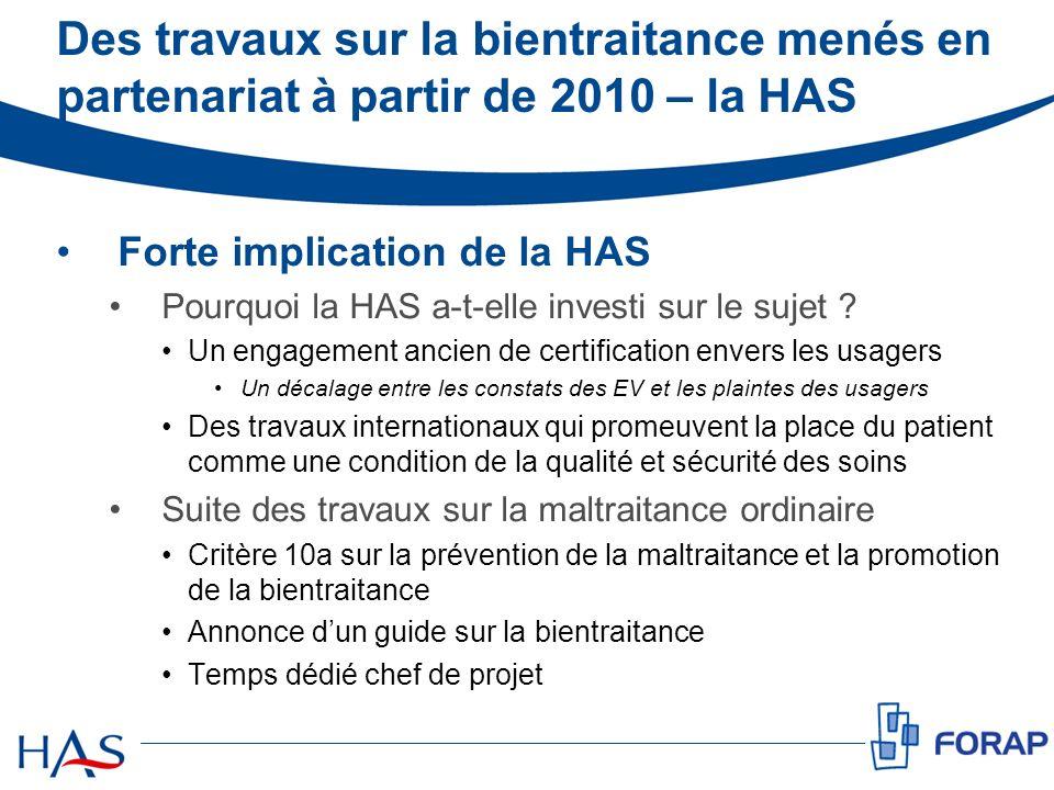 Des travaux sur la bientraitance menés en partenariat à partir de 2010 – la HAS