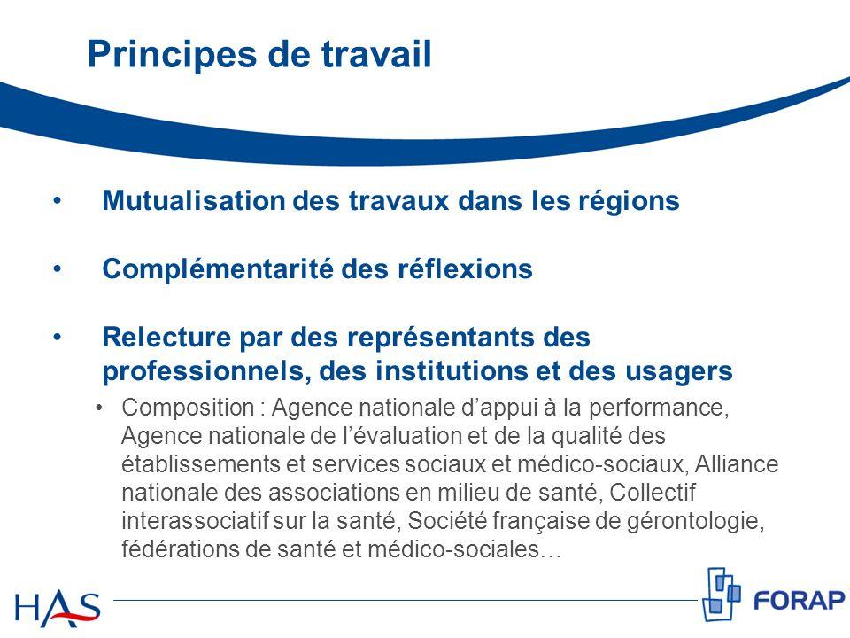 Principes de travail Mutualisation des travaux dans les régions