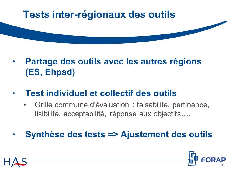 Tests inter-régionaux des outils