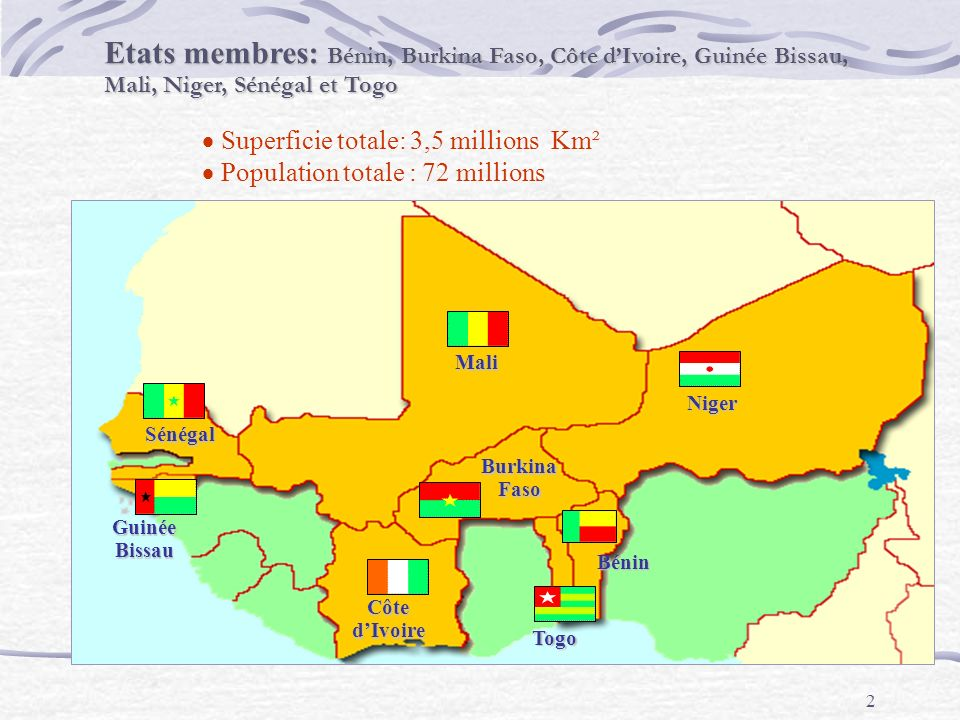 Etats membres: Bénin, Burkina Faso, Côte d'Ivoire, Guinée Bissau, Mali, Niger, Sénégal et Togo