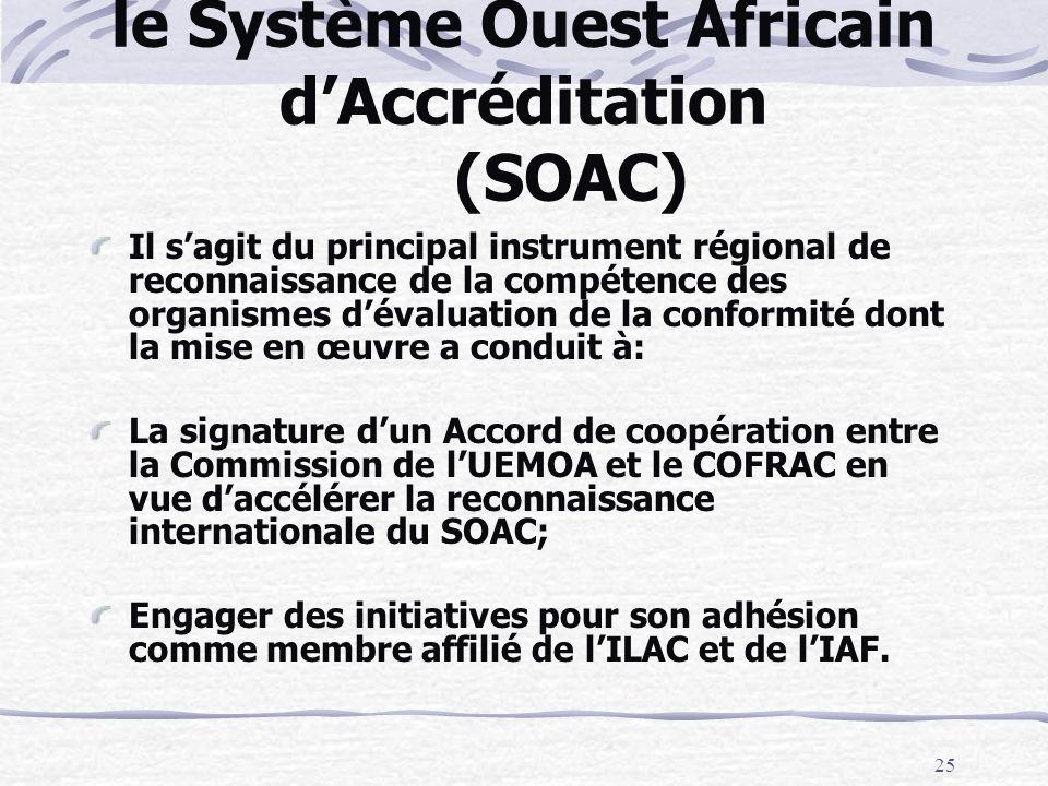 le Système Ouest Africain d'Accréditation (SOAC)