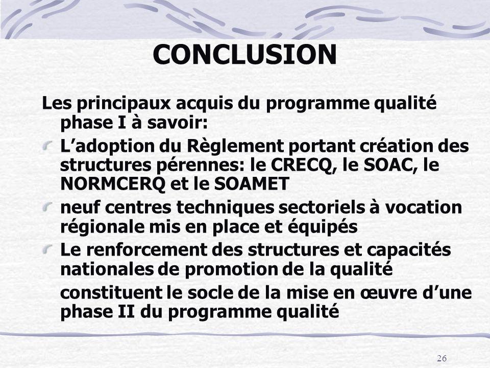 CONCLUSION Les principaux acquis du programme qualité phase I à savoir: