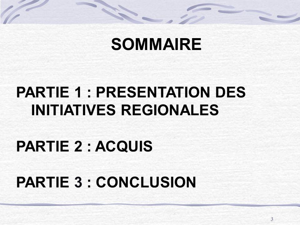SOMMAIRE PARTIE 1 : PRESENTATION DES INITIATIVES REGIONALES