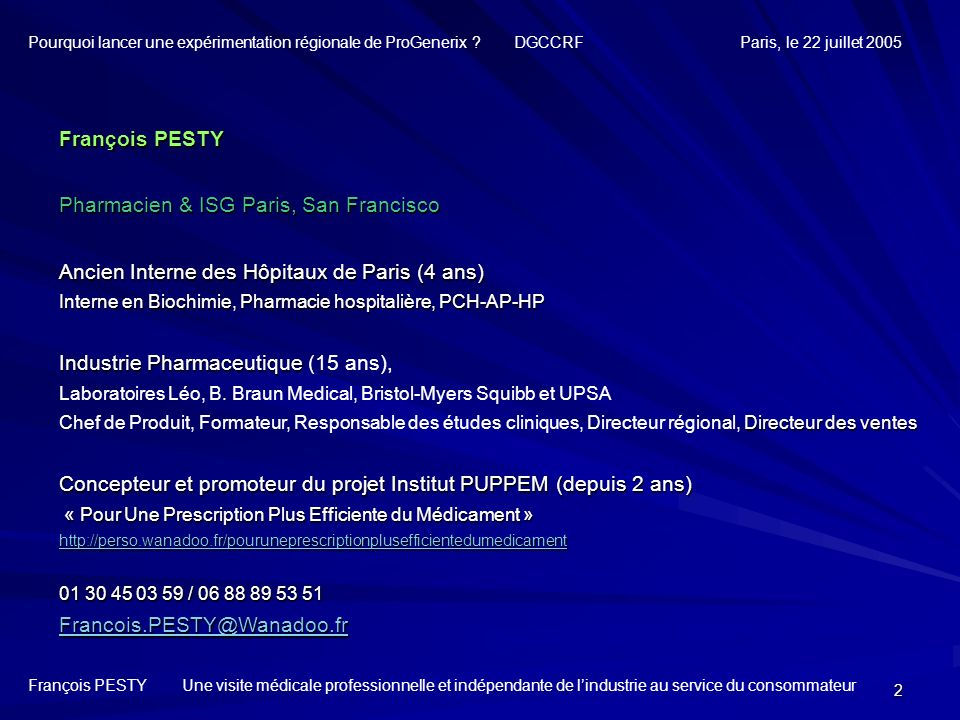 Pharmacien & ISG Paris, San Francisco